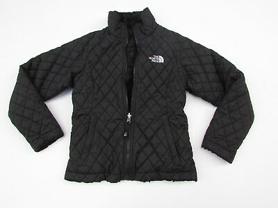 The North Face S/P 7 8 Girls Black Reversible Fleece Quilted Jacket DK1