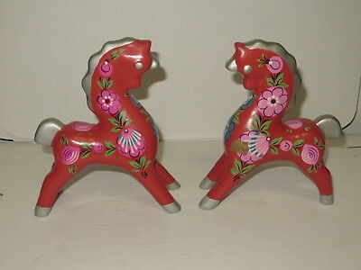 @ Vintage Pair Of Russian Hand Painted Dala Style Horses @