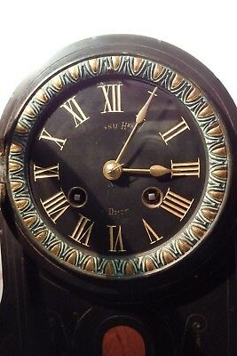 Serviced Running Striking French Slate Marble Mantle Clock On A Bell Mantel