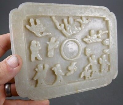 Fine Old Chinese Ming Period Carved Jade Cup Stand Scholar Art