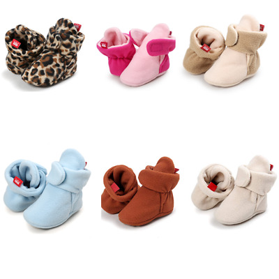 Baby Fleece Booties Newborn Infant Toddler Slippers Warm Boots Anti Slip Bottom