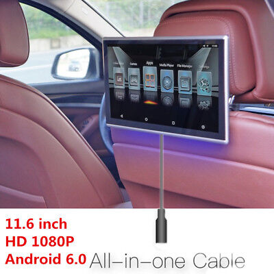 """11.6"""" HD Android 6.0 Car Headrest Rear Seat Monitor WIFI 3G/4G FM Video Player"""