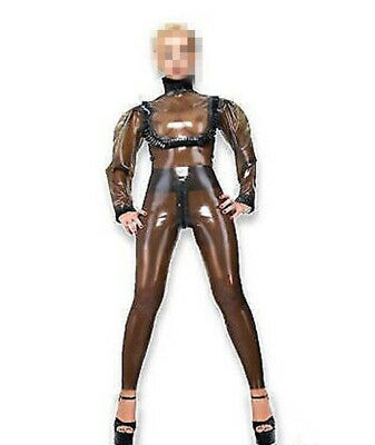 100% Latex Catsuit Coffee and Black Strumpfhosen Suit Rubber 0.4mm Size S-XXL