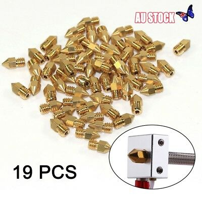 19x MK8 Extruder Nozzle 0.2 0.3 0.4 1.75mm Makerbot CR-10 Ender 3D PRINTER PART