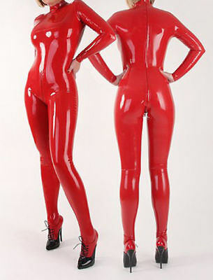 Latex Gummi Catsuit Tights Pure Red Strumpfhosen Suit Rubber 0.4mm Size S-XXL