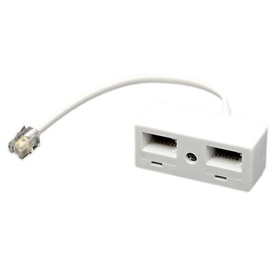 2X(RJ11 Plug to Dual UK BT Telephone Socket Convertor S6P4)