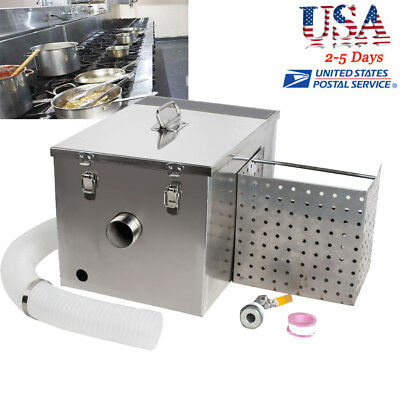 Grease Trap Interceptor Set For Restaurant Kitchen Wastewater Removable US STOCK