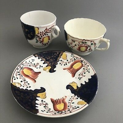 Antique 19th Century Gaudy Welsh China - 2 Teacups & 1 saucer with light damage