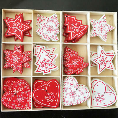24pcs Wooden Christmas Tree Hanging Ornament DIY Xmas Pendants Gifts Decorations