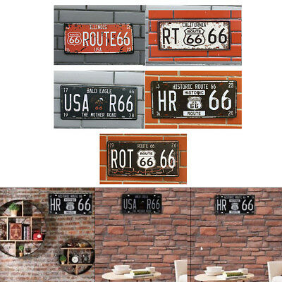 New Route 66 Car Vintage License Plate Metal Wall Craft Retro Home Garage Decor