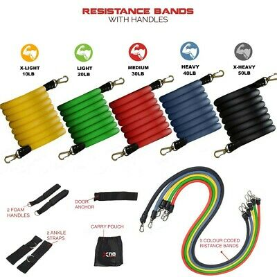 11pc Strong Exercise Resistance Bands Set, Fitness Stretch Bands With Carry Bag
