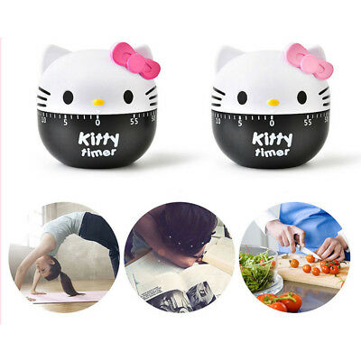 Kitchen Timer Cooking Dial Timers Management Clock Loud Alarm 60 Min Kitty Cat