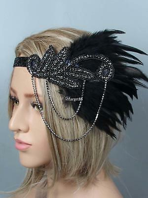 1920s Women Vintage Style Party Rhinestone Feather Flapper Headband UTAR 02