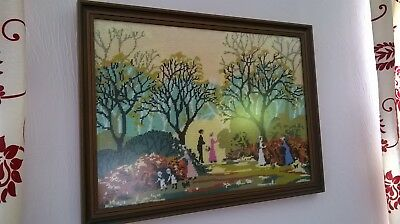 TAPESTRY Old Woodland Walk Scene With Trees Figures And Dogs Completed & Framed