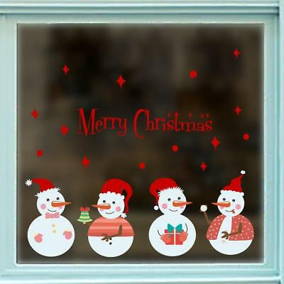 Christmas Snowman Decals Show Window Glass Wall Stickers Vinyl Art Xmas Decor