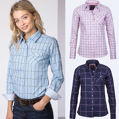 Ladies Checked Shirt Rydale Soft Cotton Long Sleeve Womens Check Blouse Work Top