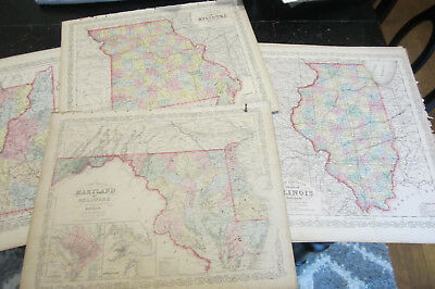 Atlas, Mitchell, Charles Desilver 7 state maps  ca: 1856, hand colored
