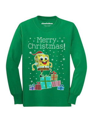 3942952c7 Santa Spongebob On Gifts Ugly Christmas Sweater Youth Kids Long Sleeve T- Shirt