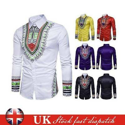 UK Men's African Tribal Shirt Dashiki Print Succinct Hippie Top Blouse Clothing