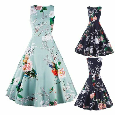 Women Vintage Style Floral Prints Rock Dress Cocktail Party Prom Housewife Dress
