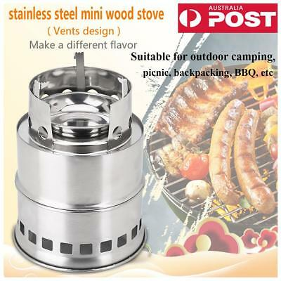 Stainless Steel Mini Wood Stove Folding For Outdoor Camping Hiking BBQ Picnic AU