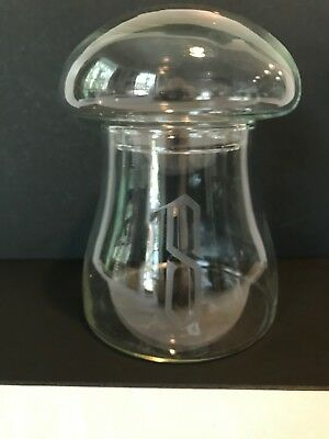 Vintage Clear Glass MUSHROOM Terrarium Apothecary Canister Jar etched letter S