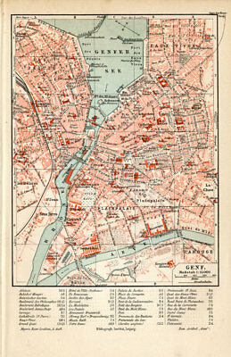 Antique Plan-GENEVE-GENEVA-GENF-SWITZERLAND-Meyers-1895