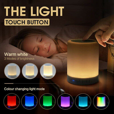 LED Bluetooth Speaker Stereo Touch Control Night Light Lamp Alarm Clock Radio