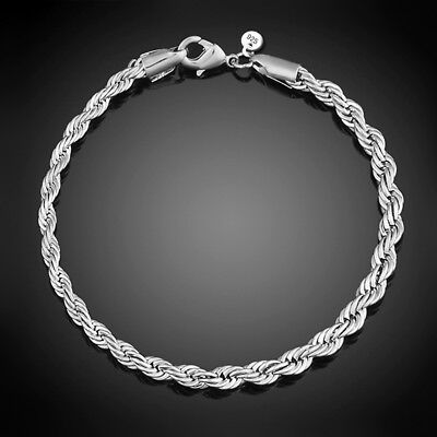 925 Sterling Solid Silver Bracelet Chain For Men Women Party Jewelry Gift