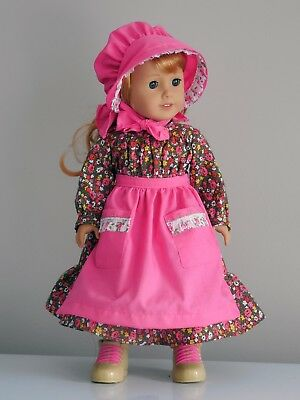 """Handmade, Prairie Rose Dress, Hat, Apron & Boots, 18"""" American Girl Doll Clothes"""
