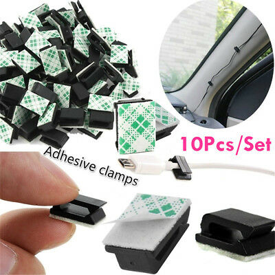 10PCS/Lot Black Adhesive Car Cable Clips Cord Winder Drop Wire Tie Fixer Holder