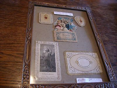 5 Valentine Cards 1882 Gold 1915 Germany in Frame Beautiful RARE SCARCE Vintage