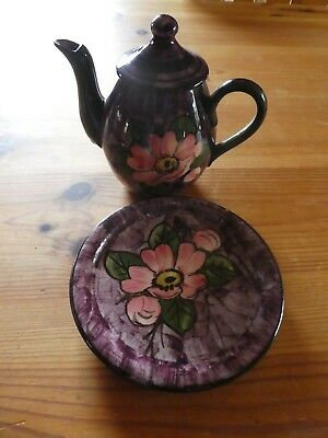 Vintage Longpark Pottery  Small  Tea Pot With stand .Rose design