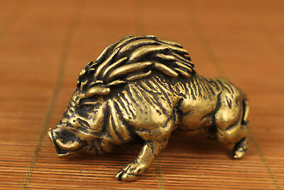 Noble antique Chinese Old Bronze Hand Casting wild boar pig Statue Figure