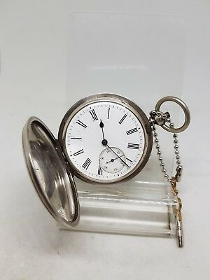 Antique solid silver gents full hunter pocket watch c1900 working ref255
