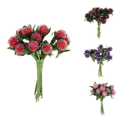 12 Artificial Flower Glass Berries Red Cherry Bayberry Pearlized Garland DIY
