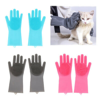 1 Pair Magic Silicone Cleaning Brush Scrubber Gloves Rubber Heat Resistant