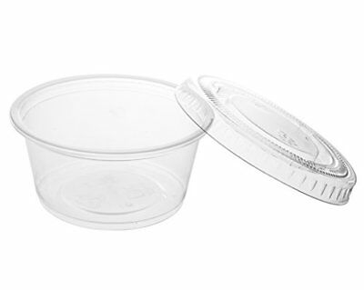 Crystalware Disposable 2oz. Plastic Portion Cups with Lids - Condiment Cup, 100