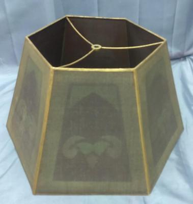 Old Antique Mission Arts & Crafts Era Period Metal Mesh Lamp Shade Stenciled Art