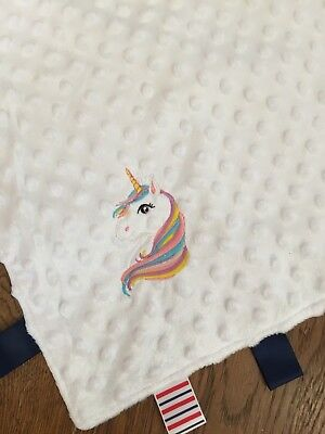 Personalised Unicorn taggie taggy Comforter Blanket