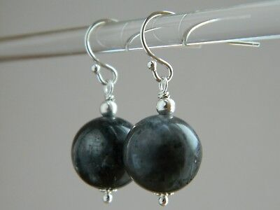 Large Grey Larvikite Gemstones & Sterling Silver Drop Elegant Handmade Earrings