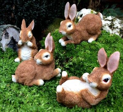 New Set Of 4 Rabbits Garden Ornament Decoration