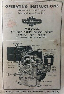Briggs Stratton model 8 8R-6 Engine Motor Owner, Parts & Service Repair Manual