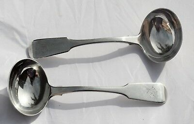A pair of Victorian silver sauce ladles -  Exeter 1839 by Henry Norris
