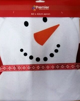 Childrens kids Snowman Christmas XMAS apron 60 x 42 cm 2ft by 18 inches approx