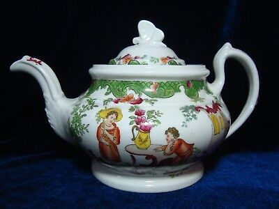 An Antique Ridgways Teapot, 'figures In Garden', 2/928 'butterfly' Knop.