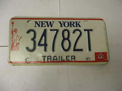 1993 93 New York NY License Plate Trailer 34782T Natural Sticker