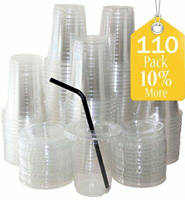 Sugarman Creations Clear Plastic Disposable Cups with Flat Lids, 12-Ounce 110