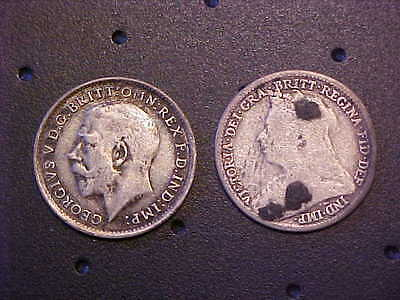 Lot Of 2 Great Britain Three Pence 1897 & 1916 - Silver Coins