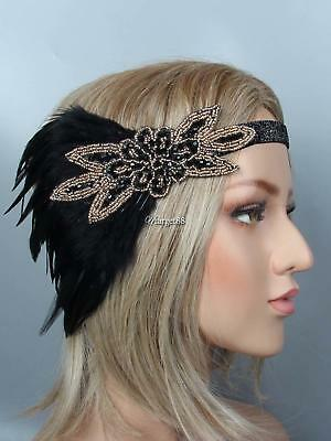 1920s Women Vintage Style Party Rhinestone Feather Flapper Headband UTAR 04
